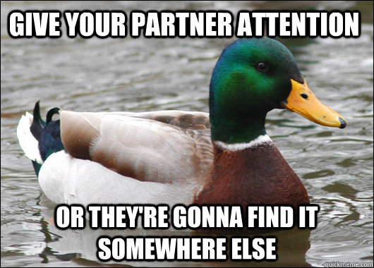 give your partner attention or theyre gonna find it somewhe - Actual Advice Mallard