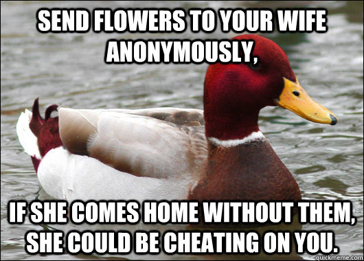 send flowers to your wife anonymously if she comes home wit - Malicious Advice Mallard