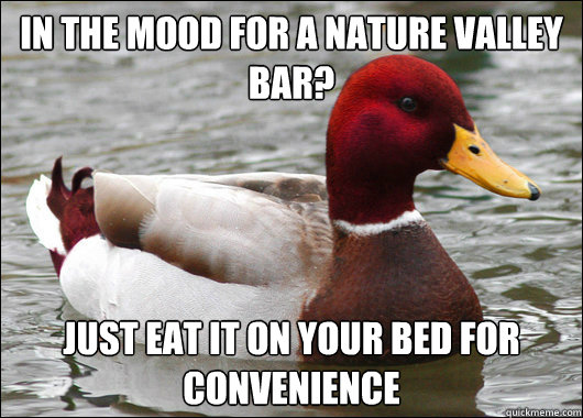 in the mood for a nature valley bar just eat it on your be - Malicious Advice Mallard