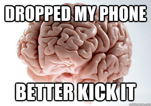 dropped my phone better kick it - Scumbag Brain