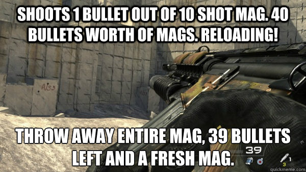 shoots 1 bullet out of 10 shot mag 40 bullets worth of mags -