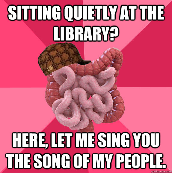 sitting quietly at the library here let me sing you the so - Scumbag Intestines