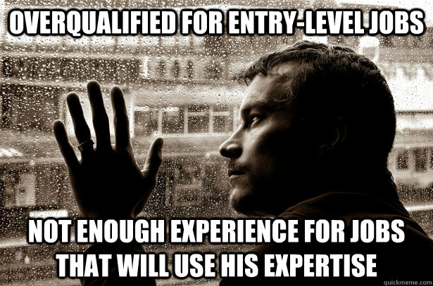 overqualified for entrylevel jobs not enough experience for - Overeducated problems