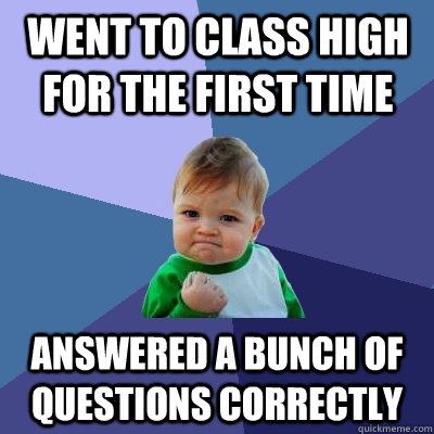 went to class high for the first time answered a bunch of qu - Success Kid
