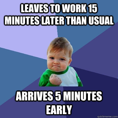 leaves to work 15 minutes later than usual arrives 5 minutes - Success Kid