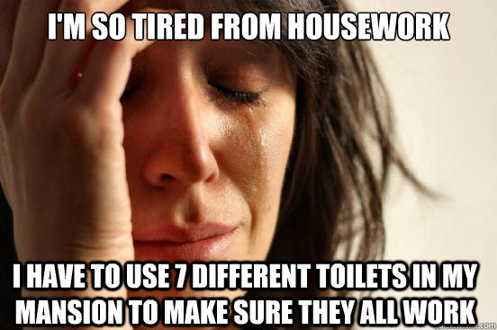 im so tired from housework i have to use 7 different toilet - First World Problems