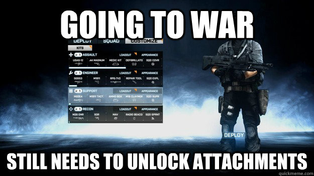 going to war still needs to unlock attachments  - 