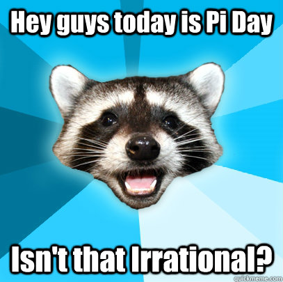 hey guys today is pi day isnt that irrational - Lame Pun Coon