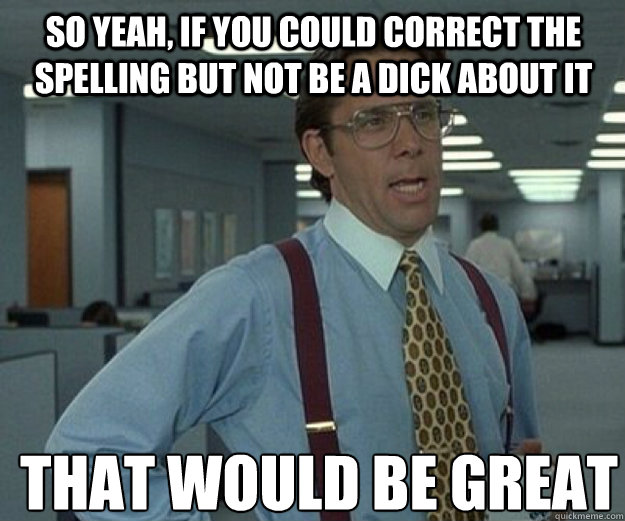 so yeah if you could correct the spelling but not be a dick - that would be great