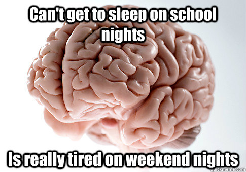 cant get to sleep on school nights is really tired on weeke - Scumbag Brain