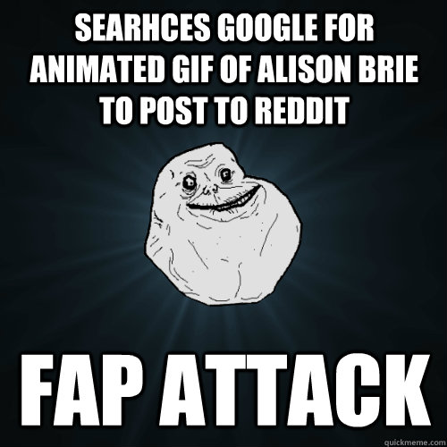 searhces google for animated gif of alison brie to post to r - Forever Alone
