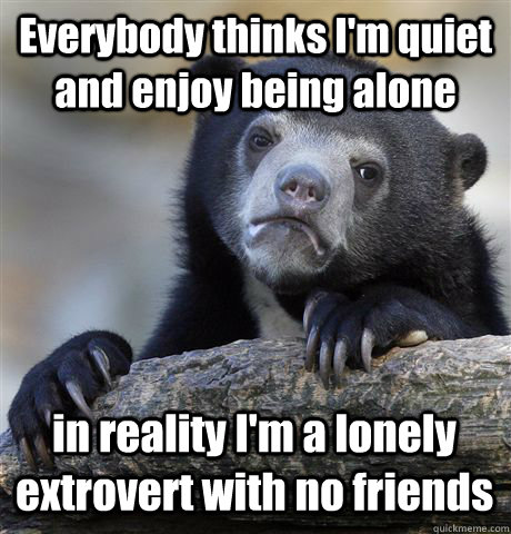 everybody thinks im quiet and enjoy being alone in reality  - Confession Bear