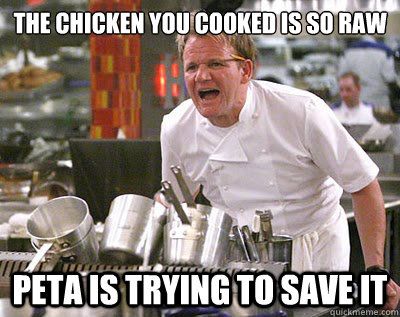 the chicken you cooked is so raw peta is trying to save it - 