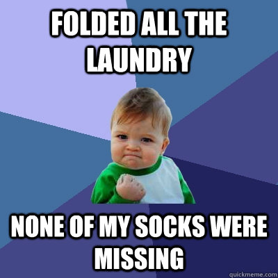 folded all the laundry none of my socks were missing  - Success Kid