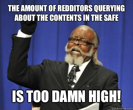 The amount of Redditors querying about the contents in the s - Too Damn High