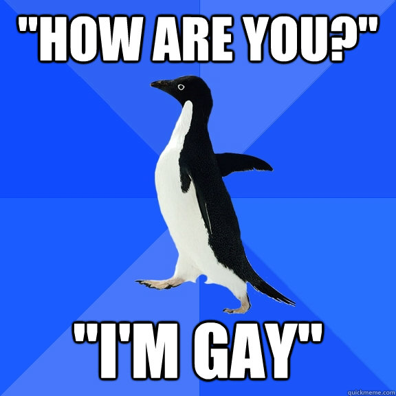 how are you im gay - Socially Awkward Penguin