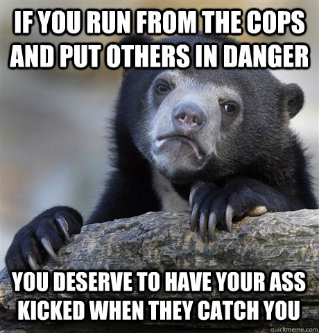 if you run from the cops and put others in danger you deserv - Confession Bear