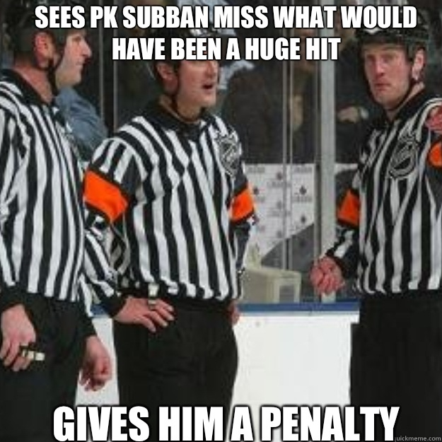 Sees PK Subban miss what would have been a huge hit Gives hi - NHL ref
