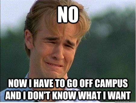 no now i have to go off campus and i dont know what i want - 1990s Problems