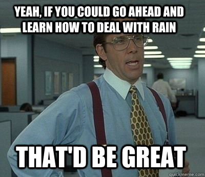 yeah if you could go ahead and learn how to deal with rain  - Bill Lumbergh