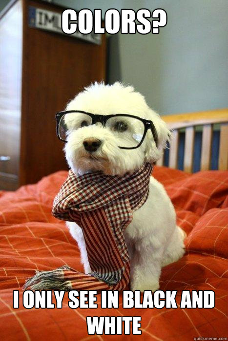colors i only see in black and white - Hipster Dog