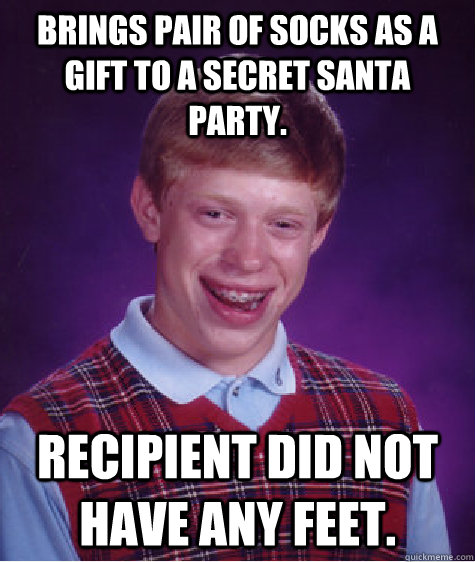 Brings Pair Of Socks As A Gift To A Secret Santa Party