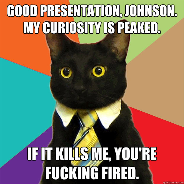 good presentation johnson my curiosity is peaked if it k - Business Cat