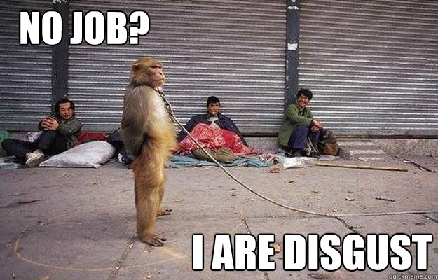 i are disgust no job - Superior Monkey