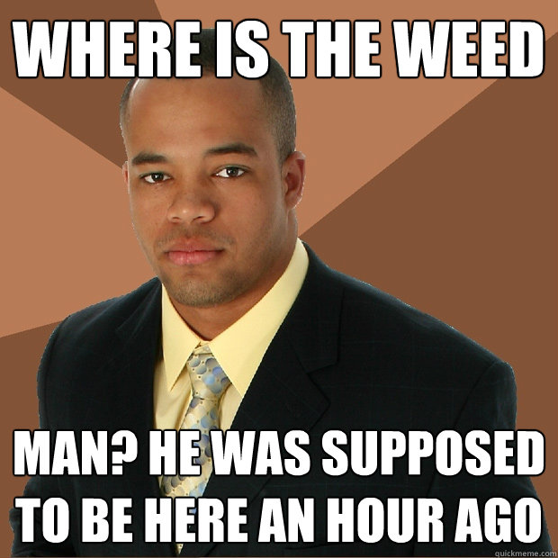 where is the weed man he was supposed to be here an hour ag - Successful Black Man