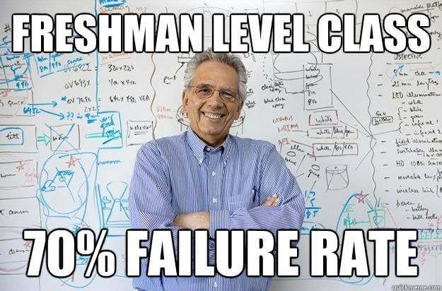 freshman level class 70 failure rate - Engineering Professor