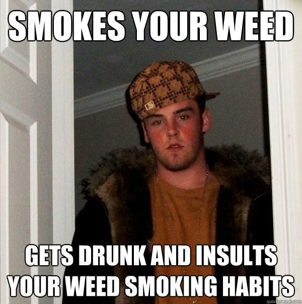 smokes your weed gets drunk and insults your weed smoking ha - Scumbag Steve