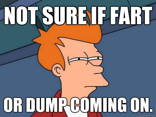 not sure if fart or dump coming on - Futurama Fry