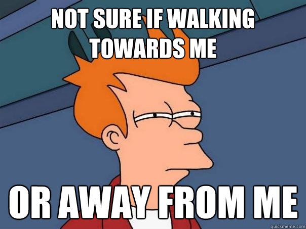 not sure if walking towards me or away from me - Futurama Fry