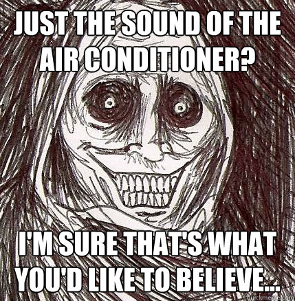 just the sound of the air conditioner im sure thats what  - Horrifying Houseguest