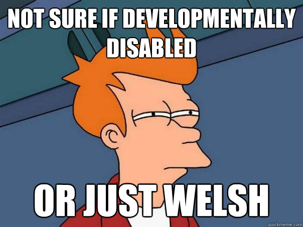 not sure if developmentally disabled or just welsh - Futurama Fry