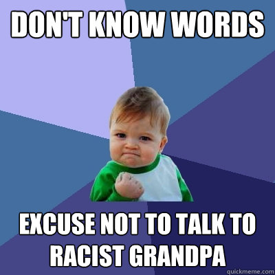 dont know words excuse not to talk to racist grandpa - Success Kid