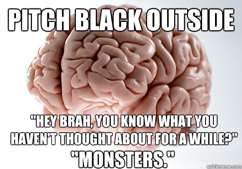pitch black outside hey brah you know what you havent tho - Scumbag Brain