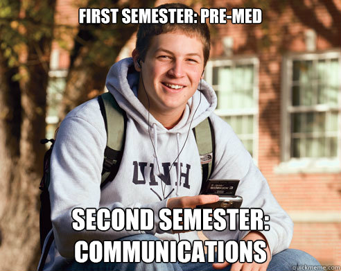first semester premed second semester communications - College Freshman