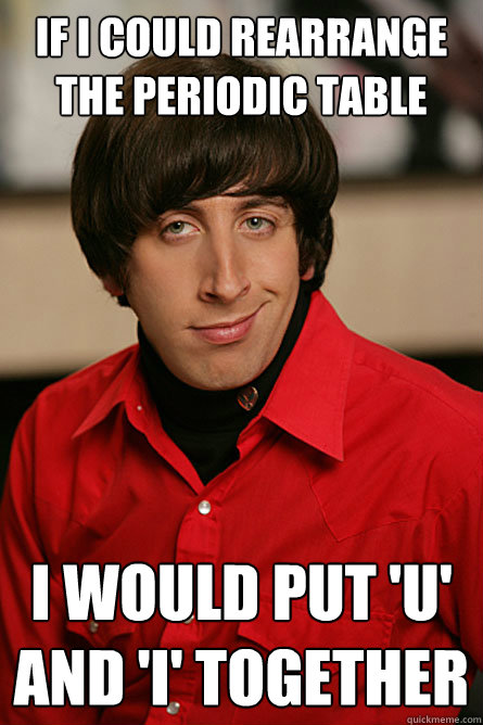 Funny Pickup Lines Meme : If i could rearrange the periodic table would put u