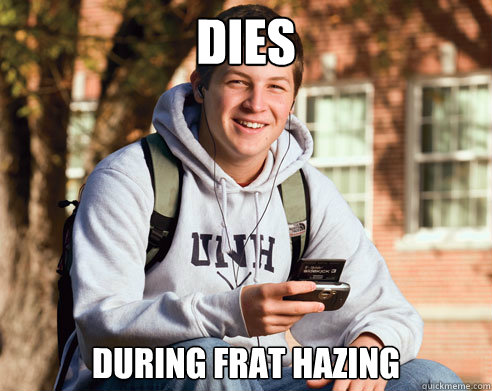 dies during frat hazing - College Freshman