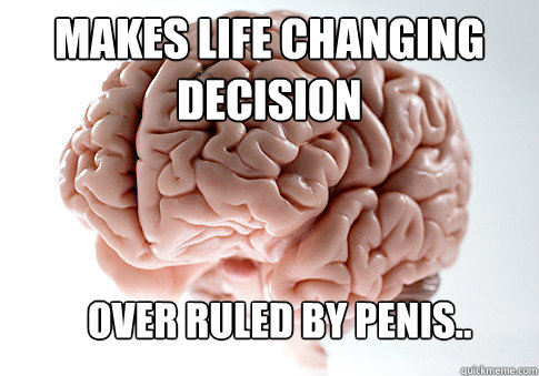 makes life changing decision over ruled by penis - Scumbag Brain