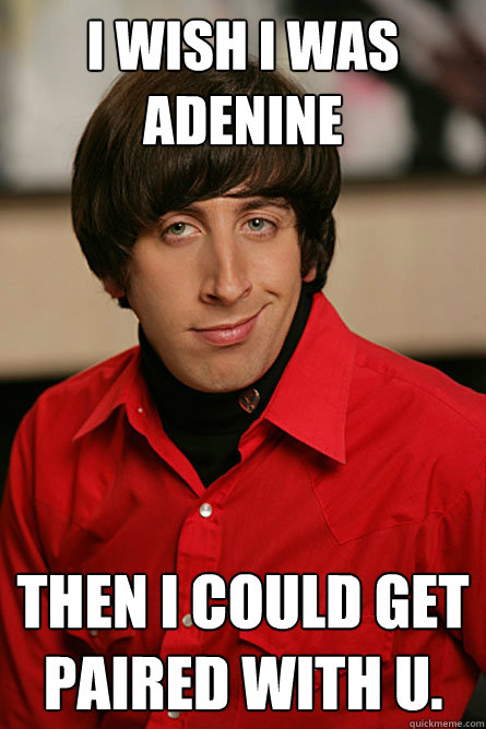 i wish i was adenine then i could get paired with u - Pickup Line Scientist