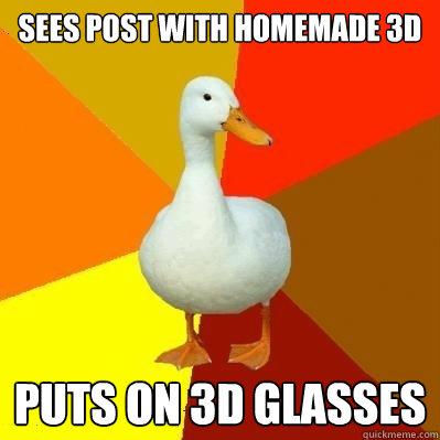 sees post with homemade 3d puts on 3d glasses - Tech Impaired Duck
