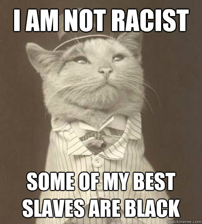 i am not racist some of my best slaves are black - Aristocat