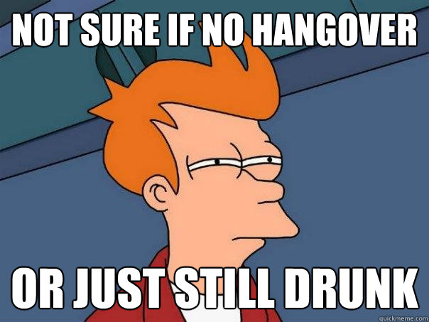 not sure if no hangover or just still drunk - Futurama Fry