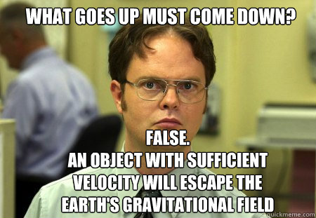what goes up must come down false an object with sufficien - Schrute