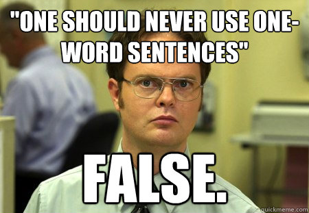 one should never use oneword sentences false - Schrute