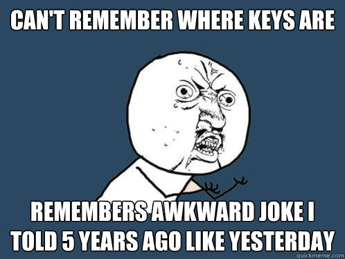cant remember where keys are remembers awkward joke i told  - Y U No