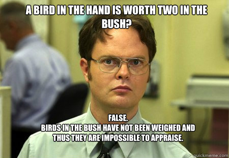 a bird in the hand is worth two in the bush false birds  - Schrute