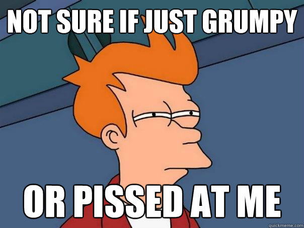not sure if just grumpy or pissed at me - Futurama Fry